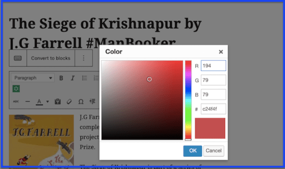 Diagram showing how to change text colour in a book blog