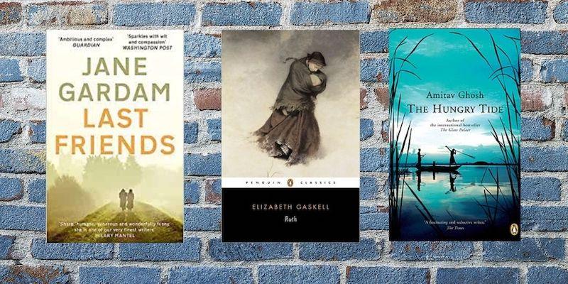 Unread Novels by Jane Gardam, Elizabeth Gaskell and Amitav Ghosh that are sitting in my bookshelves