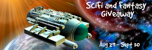 Fantasy and Science Fiction Giveaway September Book Promotions - a cute space ship with planets.