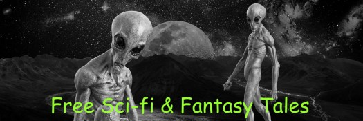 """Aliens staring out at you from a weird alienscape with a moon or planet in the distance.  Very black and white - except for the sick yellow-green title proclaiming """"Free Sci Fi and Fantasy Tales"""""""