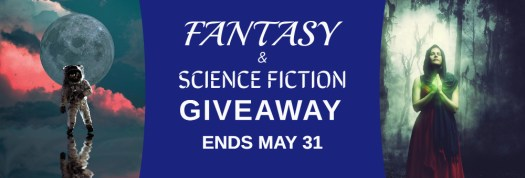 Fantasy and Science Fiction e-book Giveaway That's free books Also ends May 31 There's a spaceman in front of a moon surrounded by clouds on the left, and on the right a witch with green light coming from her hands.