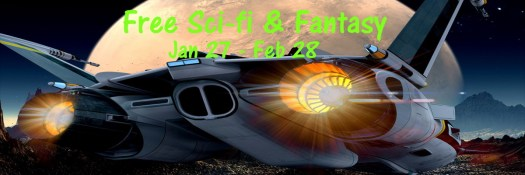 Free February Sci Fi and Fantasy with spaceship and moon like planet.