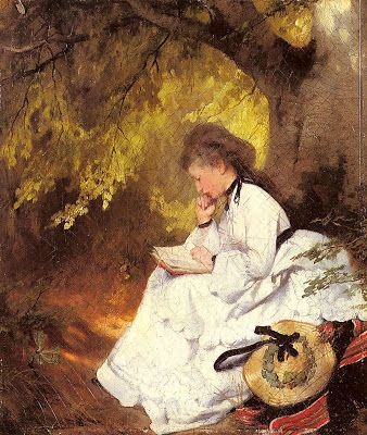 """Reading under a tree"". Karl Raupp (1837-1918), German painter."
