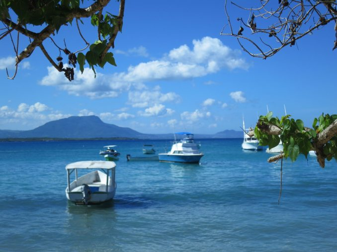 Boats anchored at Sosua Beach