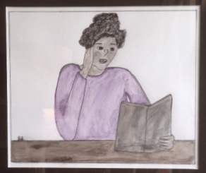 Brown Girl Reading, an original water and pen drawing by our own Brandy Burgess