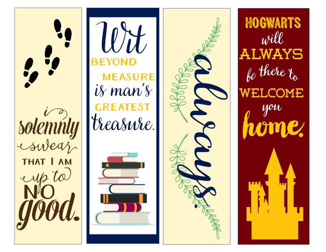 Canny image with harry potter printable bookmarks