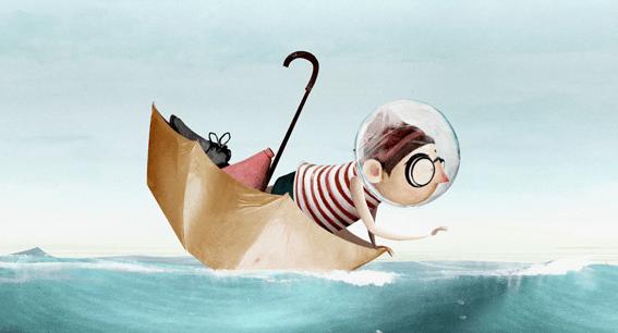 Still met paraplu uit animatie Zeezucht