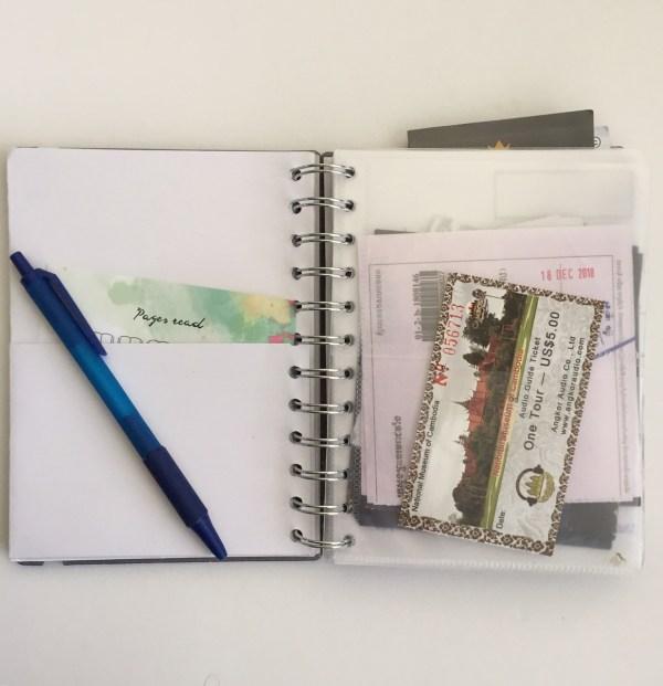 Opbergvakjes in notitieboekje