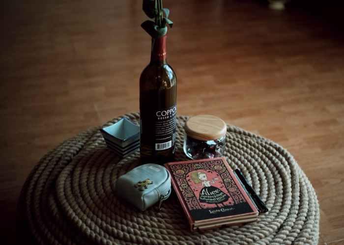 black glass bottle