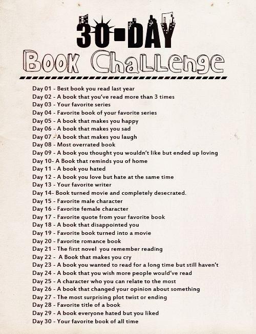 30 day book challange