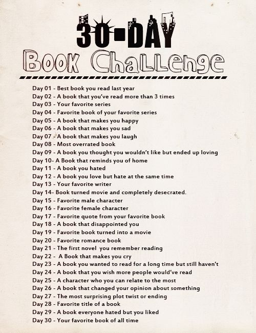 30 day book challange