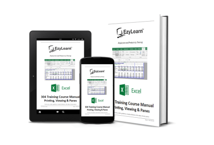 Microsoft Excel Intermediate Training Course Manual, Workbook & Practice Exercise files - 304 Printing, Viewing & Panes for Large Spreadsheets