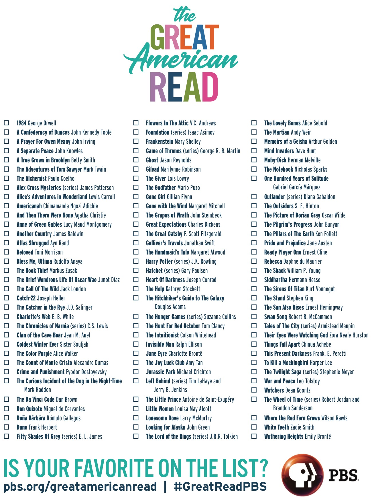 The Great American Read Print Your Checklist