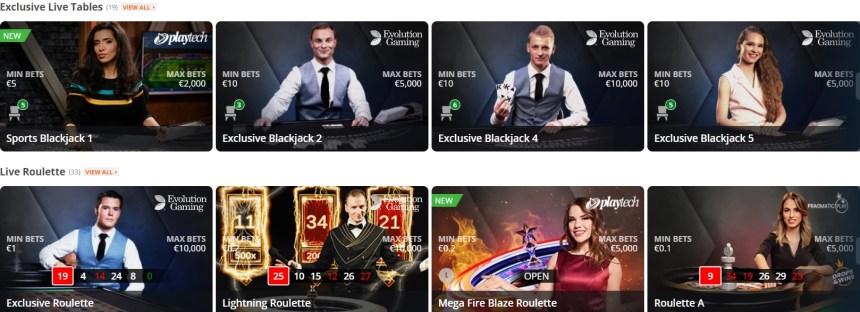Живые игры в казино Betsson