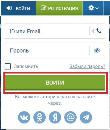 Кнопка входа в форме авторизации на сайте 1xBet
