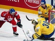 Эпизод матча между сборными Чехии и Швеции