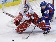 Эпизод хоккейного матча между чехами и словаками