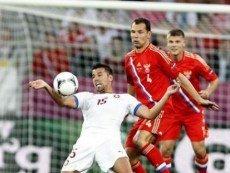 Эпизод матча между сборными России и Чехии