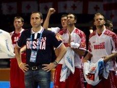 Главный тренер сборной России по баскетболу Дэвид Блатт и игроки