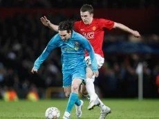 Эпизод матча между 'Барселоной' и 'Манчестер Юнайтед'
