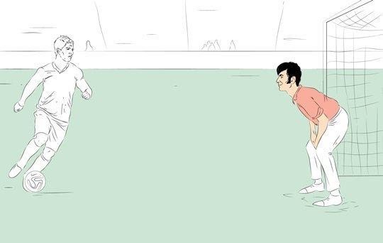 Фотокарточка: отрабатываем удары по воротам с Луисом