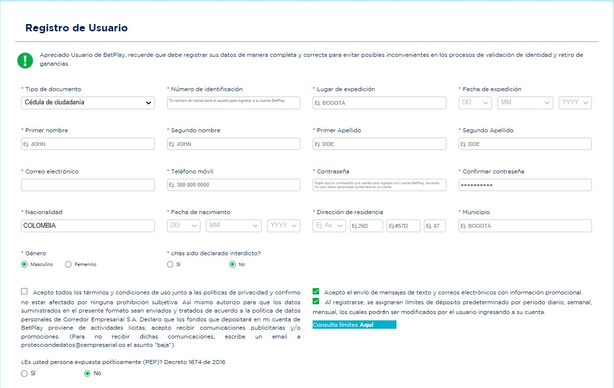 Форма регистрации на сайте БК BetPlay