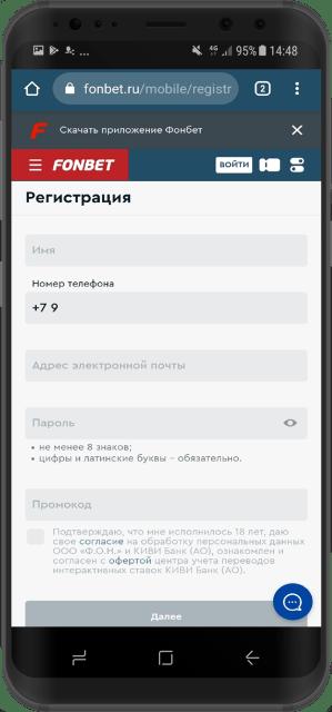 поля для ввода данных при регистрации