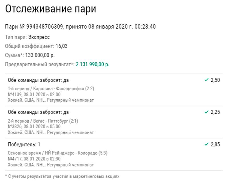 Доехало: небольшой экспресс из матчей НХЛ принес более 2 млн рублей