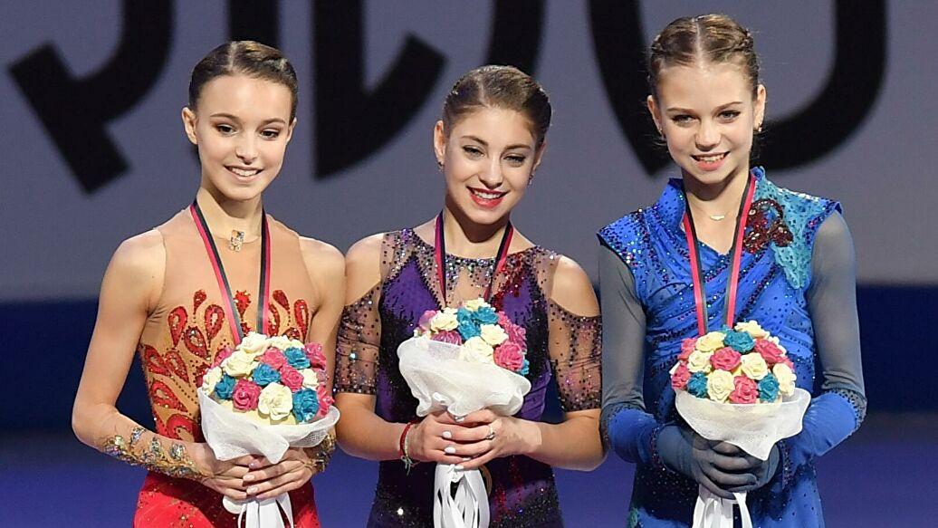 Анна Щербакова, Алена Косторная и Александра Трусова
