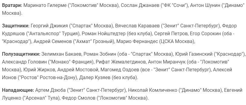 Состав сборной России на матчи с Сербией и Венгрией