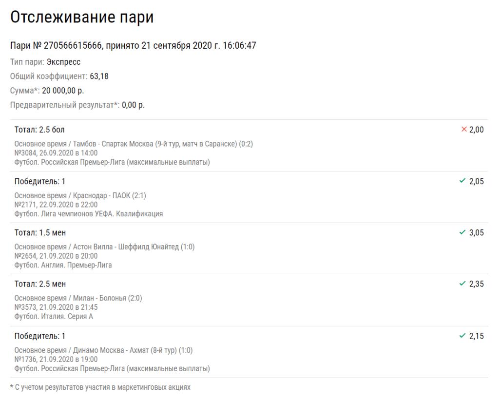 Беттор лишился выигрыша в 1,2 млн рублей из-за того, что «Спартак» мало забил