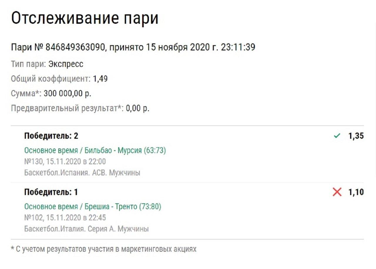 Клиент «Лиги Ставок» потерял 300 тысяч рублей, потому что на севере Италии не умеют играть в баскетбол