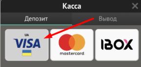 Выбор метода пополнения счета при помощи банковской карты Visa в приложении Pin-Up bet для iOS