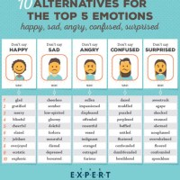 10 Alternatives for the Top 5 Emotions: Happy, Sad, Angry, Confused, Surprised