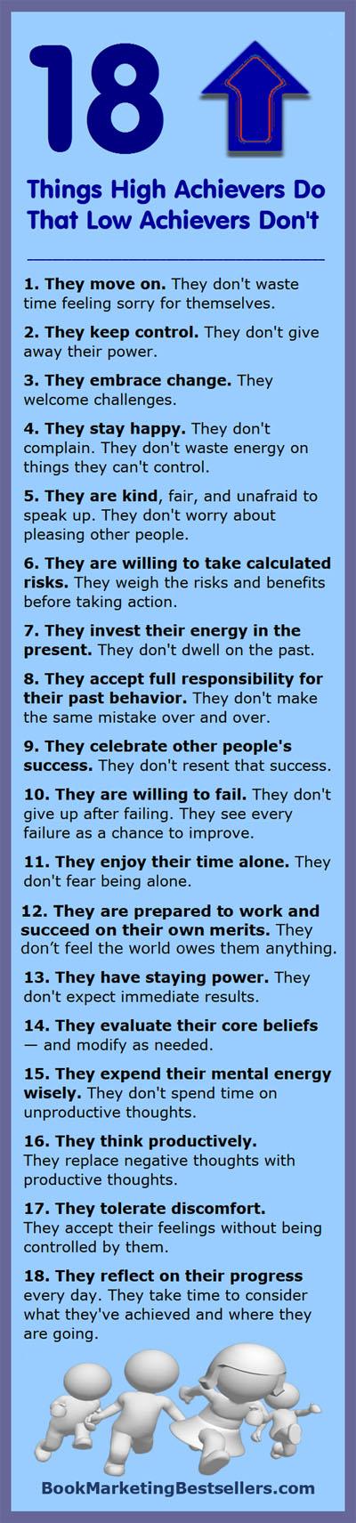 Success Tip-O-Graphic: 18 Things High Achievers Do #success #achievement #successtips