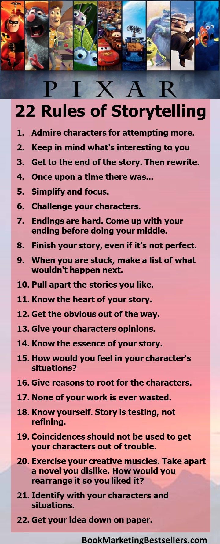 Pixar's 22 Rules for Storytelling: Challenge Your Characters. Come Up With Your Ending Before Doing Your Middle. #writing #writers #authors