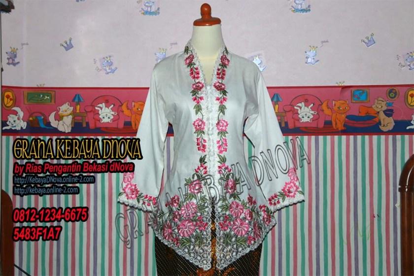 Produsen Kebaya Encim Putih Motive Bunga Warna by Kebaya DNOVA 081212346675