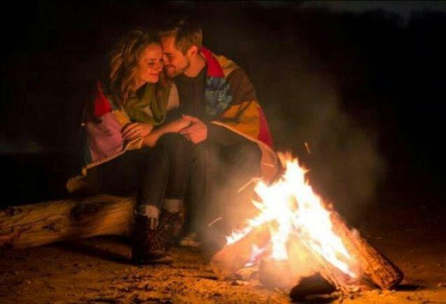 Couple Portrait near fire