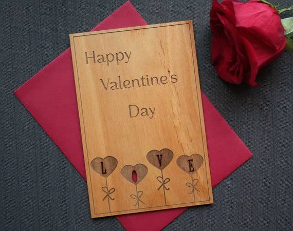 Wooden Valentine's Day Card as Valentine's Day Gifts for Girlfriend