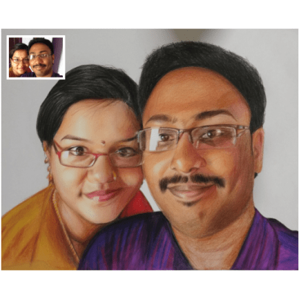 Couple Pencil Color Portrait from Photo