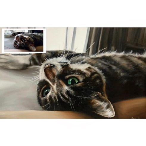 Handmade Cat Portrait from Photo