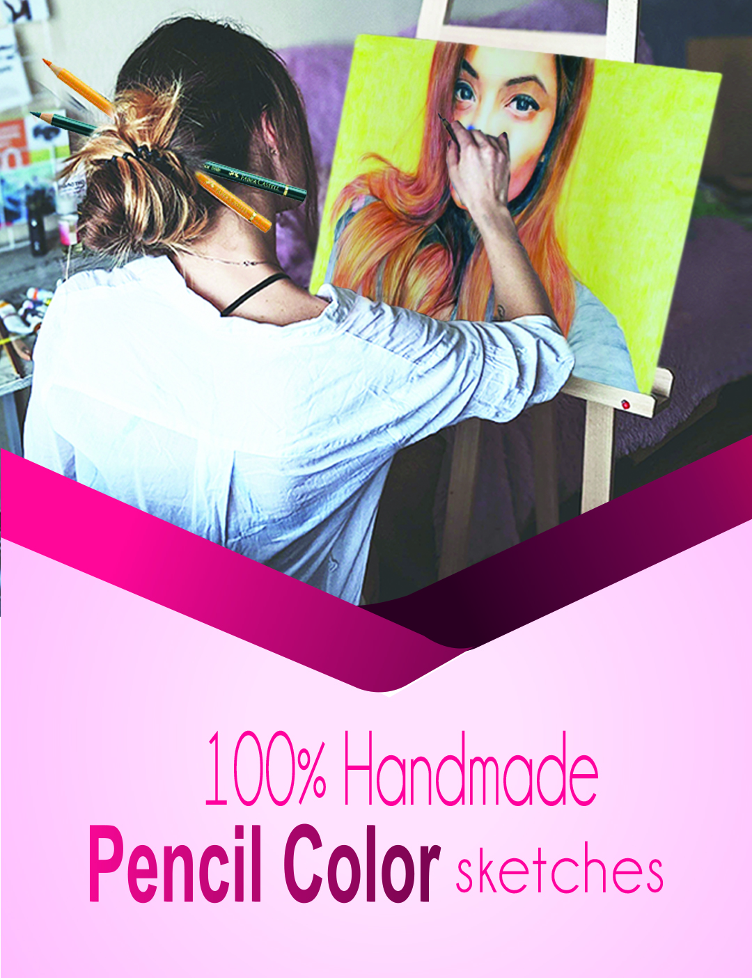Pencil Color Drawing - BookMyPainting