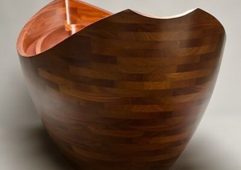 'Salish Sea' sculpted wooden bathtub by Seth Rolland Custom Furniture Design