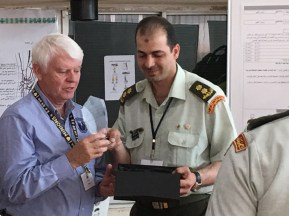 Presenting a plaque to Sa'ed Smadi, Chair of OT JRMS