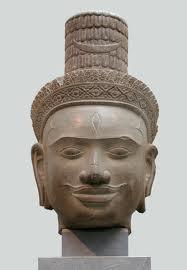 A Cambodian Shiva head showing a third eye.