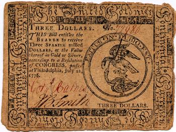 First Three dollar bill