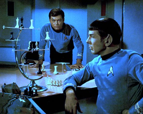 Spock playing 3d chess