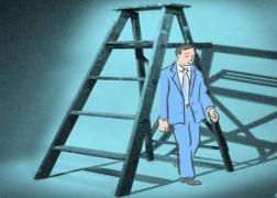 Man walking under a ladder