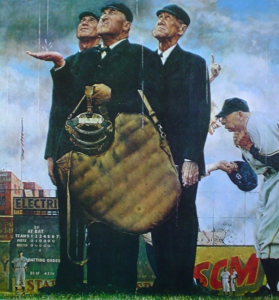The Three Umpires by Norman Rockwell