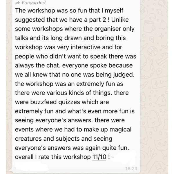 Harry Potter Workshop Feedback